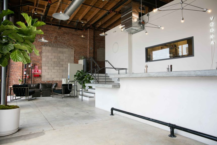 Brick Wall Interior and Bar Space at Our Distillery at Our/LA in Los Angeles, CA