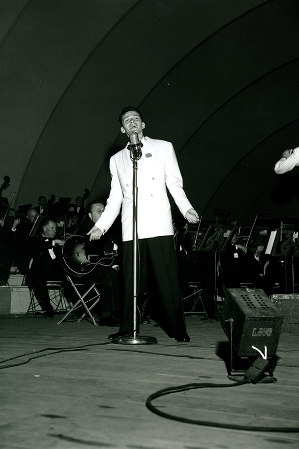 Frank Sinatra performs at the Hollywood Bowl in California