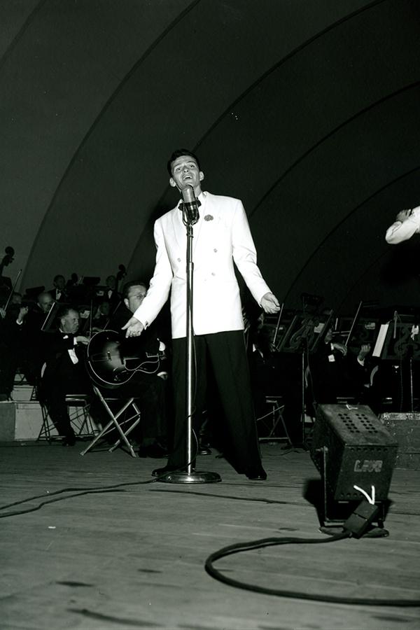 Frank Sinatra performs at the Hollywood Bowl in California