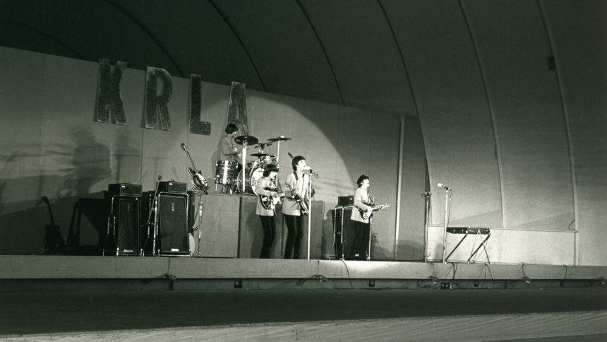 The Beatles performing at the Hollywood Bowl in California
