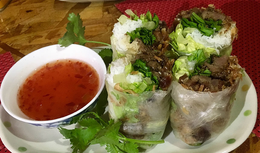 Date Spring Roll at Rooster and the Pig