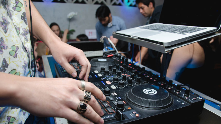 A DJ at the Beat Junkies Institute of Sound
