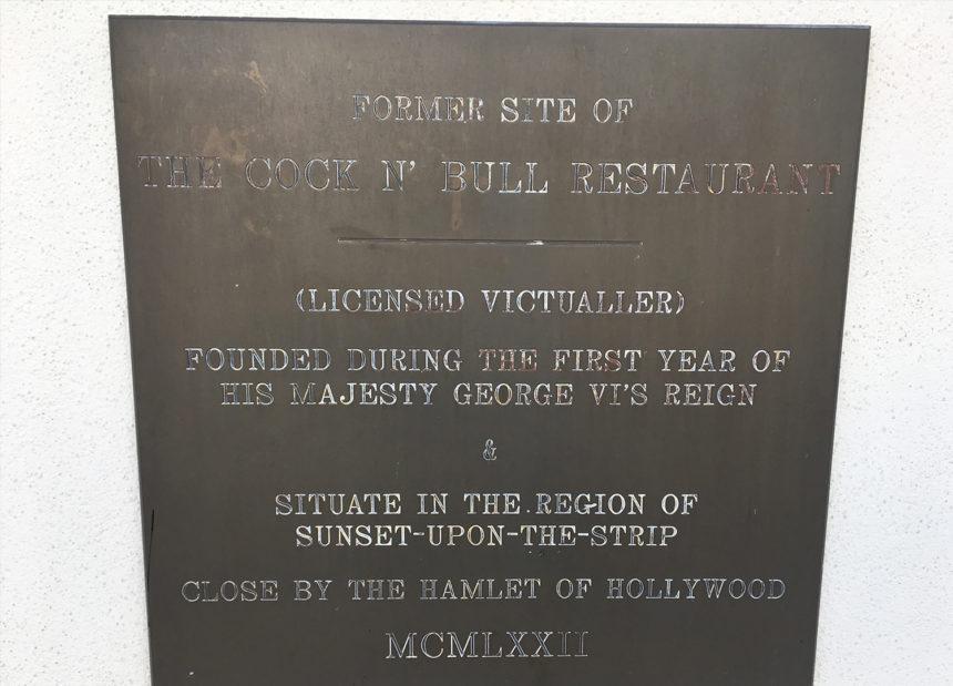 A plaque commemorating LA's Cock N Bull