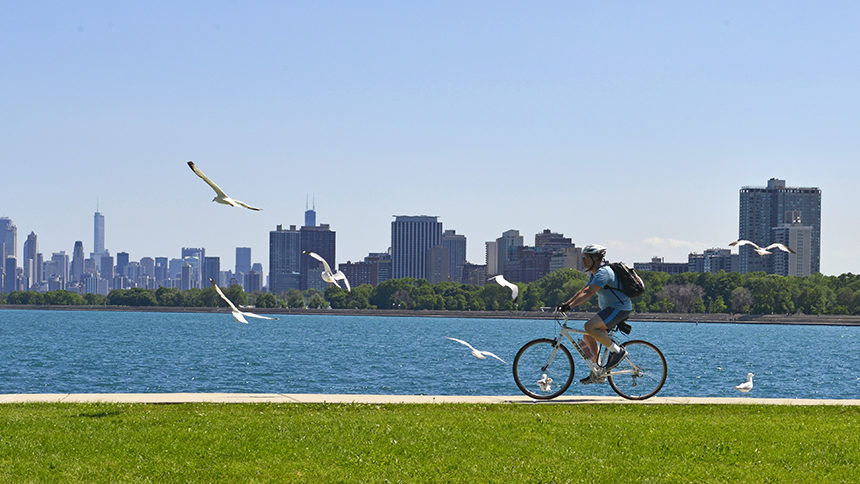 Biking along the lakeshore path in Chicago.
