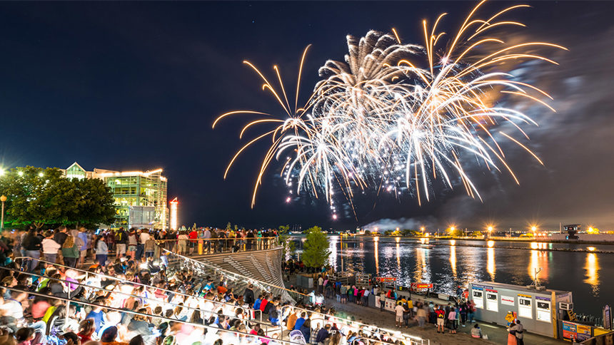Fireworks explode over a crowd at Navy Pier