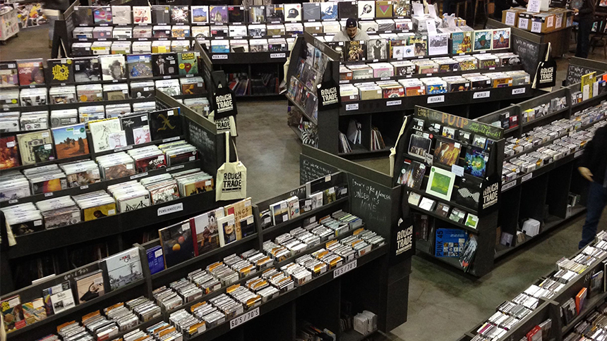 A customer shops shelves filled with vintage records at Rough Trade in New York City