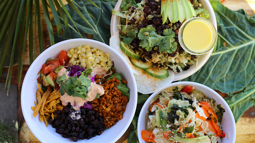 An image of chef inspired bowls from Chef Tanya's Kitchen in Palm Springs
