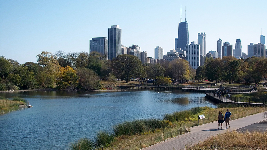 View of Lincoln Park South Pond in Chicago, Illinois.