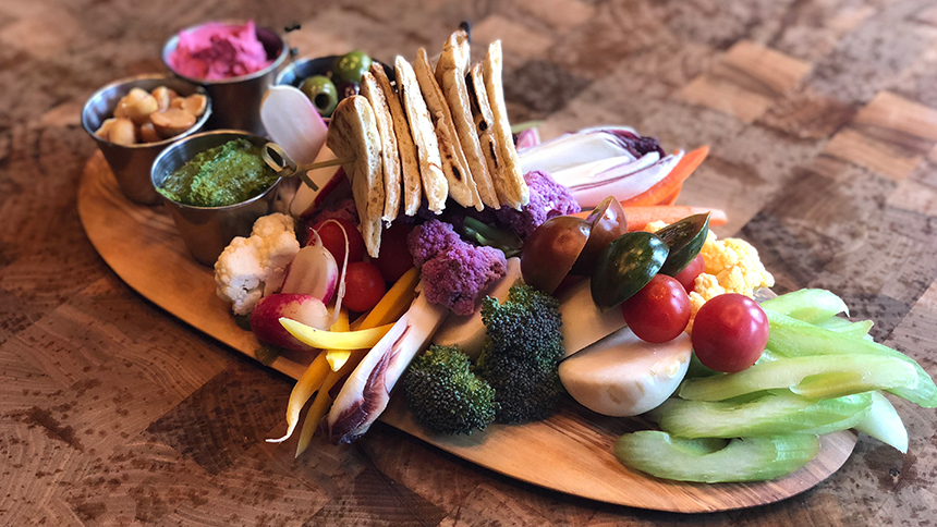 Farmers Market Crudite Board at Public Kitchen & Bar in Hollywood.