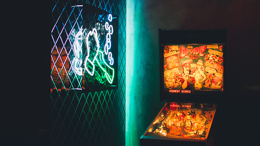 The Slipper Clutch arcade bar in Los Angeles, California.