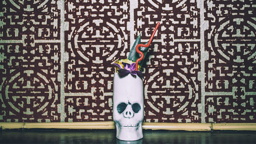 An image of drink in a skull glass from Bootlegger Tiki in Palm Springs