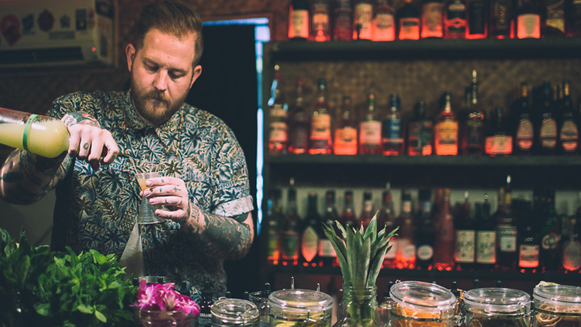 An image of the bartender at Bootlegger Tiki