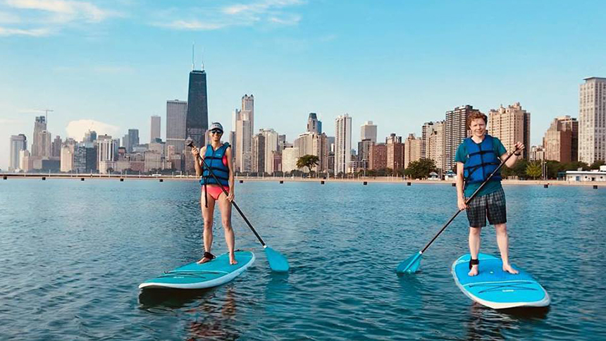 An image of paddle boarders at Chicago SUP