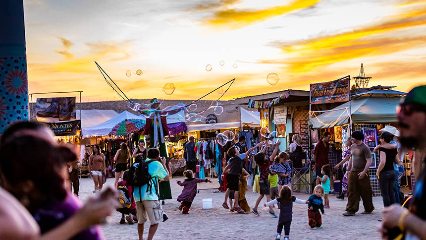 A festive sunset at Joshua Tree Music Festival in California