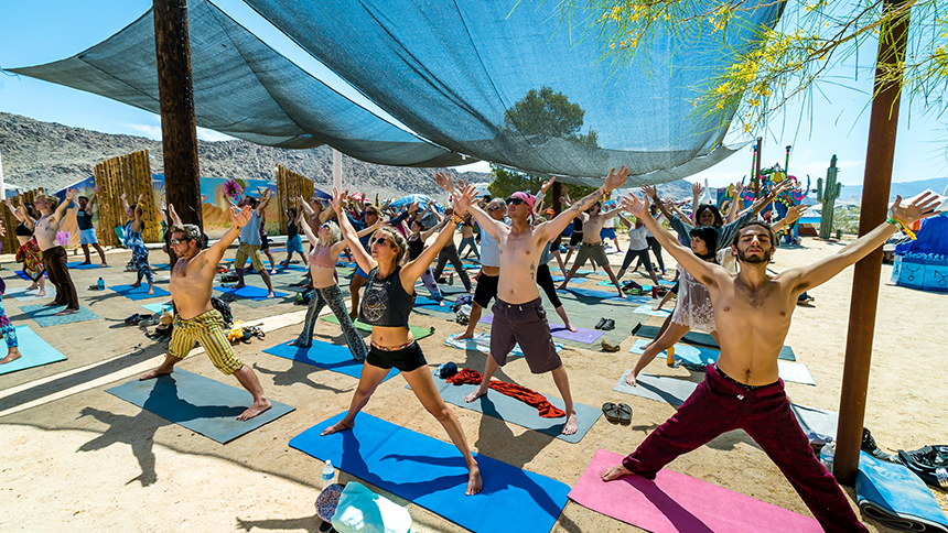 People stretching at Joshua Tree Music Festival in California