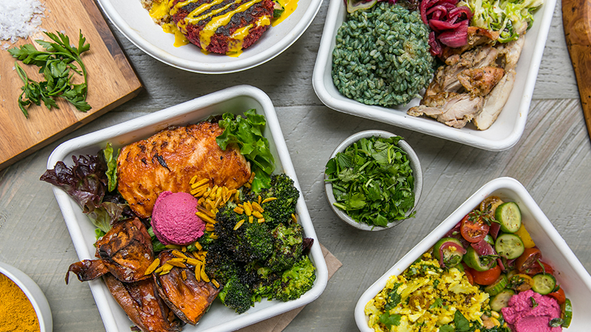 An image of to-go offerings at The Little Beet restaurant in New York City