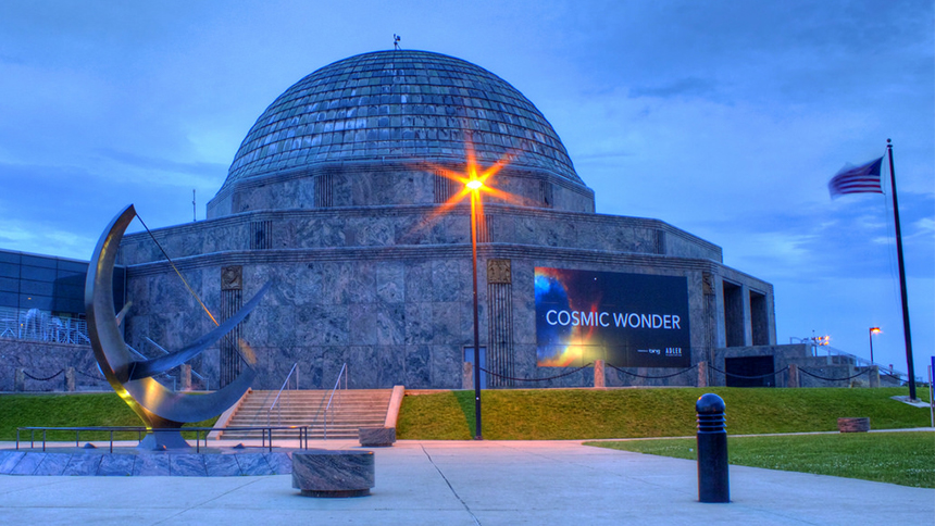 An evening shot of Adler Planetarium in Chicago, Illinois