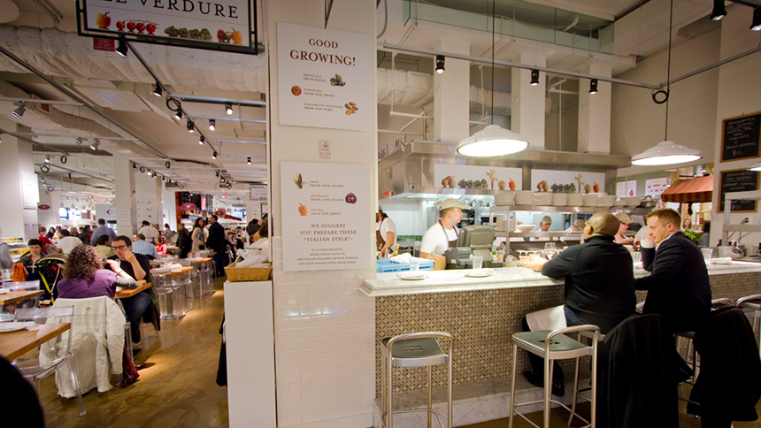 A scene inside Eataly Flatirons in New York City, New York