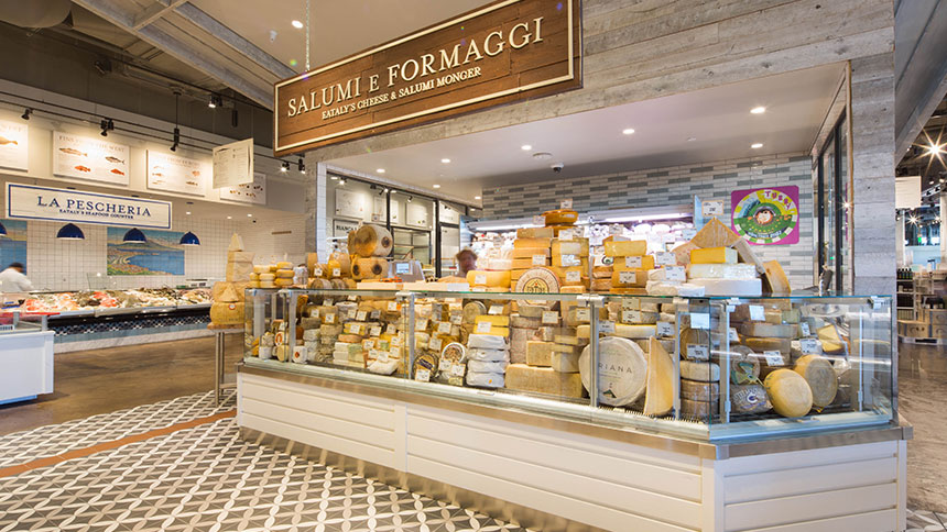 Eataly marketplace and food hall in Los Angeles, California.