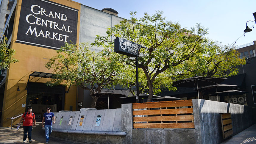 Grand Central Market food hall in Los Angeles, California.
