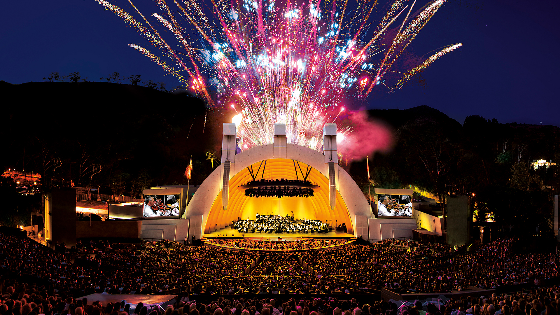 Fireworks at the Hollywood Bowl in Hollywood, California