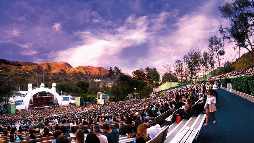 A sunset show at the Hollywood Bowl in Hollywood, California