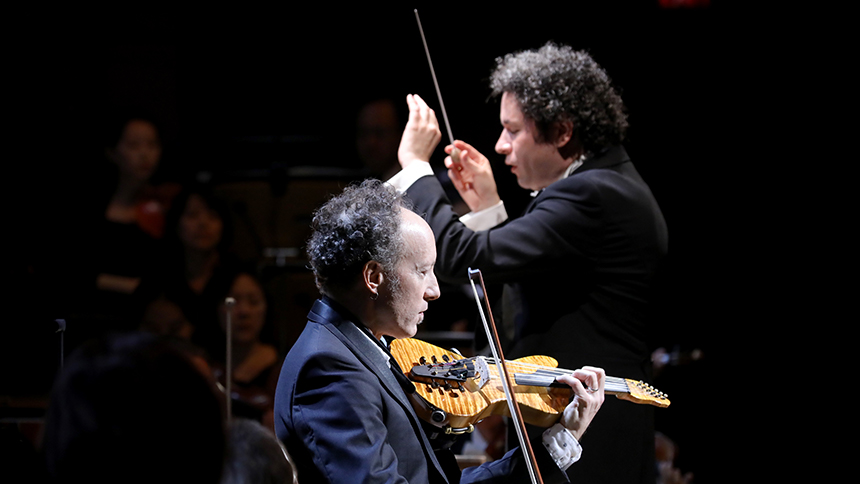 Members of the LA Philharmonic perform in Hollywood, California