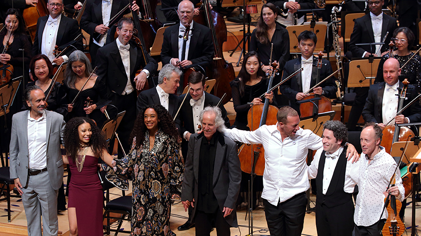 Members of the LA Philharmonic bow after a performance in Hollywood, California