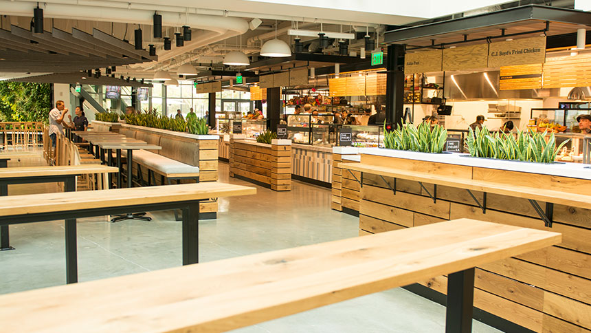 The Fields food hall in Los Angeles, California.
