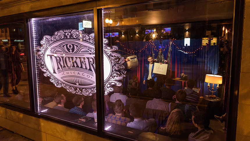 A magician performs at Trickery Chicago.