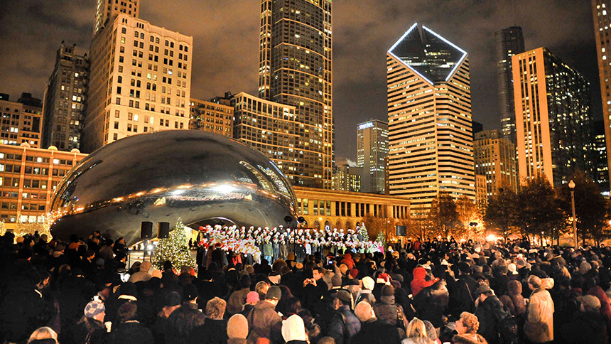 Caroling at the Cloud Gate in Millennium Park, Chicago.