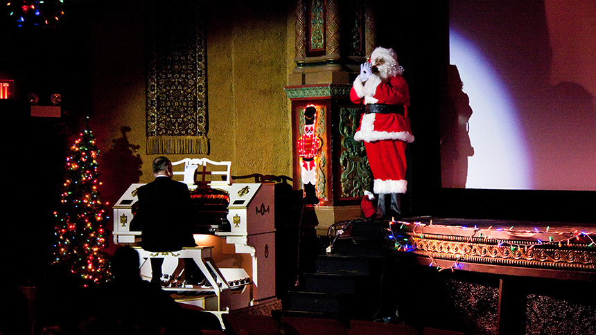 Sing-along caroling and Christmas movies at the Music Box Theatre, Chicago.