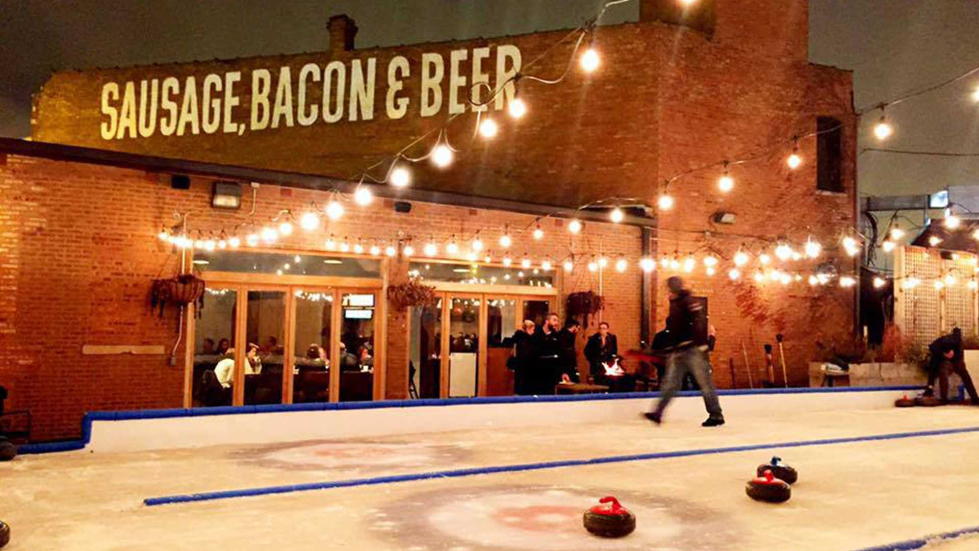 An outdoor ice curling scene at Kaiser Tiger in Chicago, Illinois