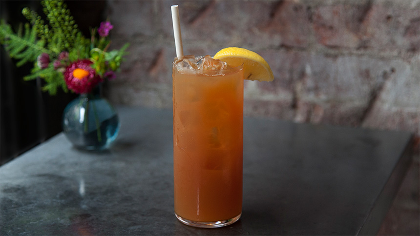 Mango iced tea mocktail from ABC Cocina in New York City