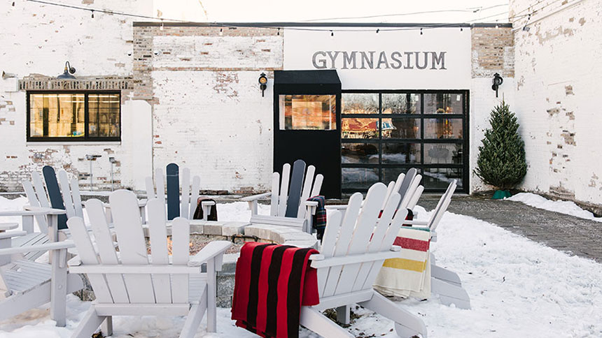 The outdoor patio at Park & Field in Chicago, Illinois