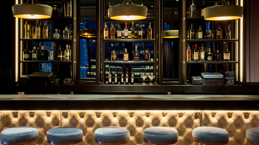 A view of the bar at Skylark in New York City