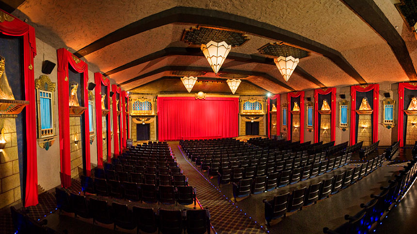 An interior shot of the Vista Theatre in Los Angeles, California