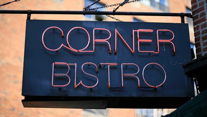 A neon sign at Corner Bistro in New York City