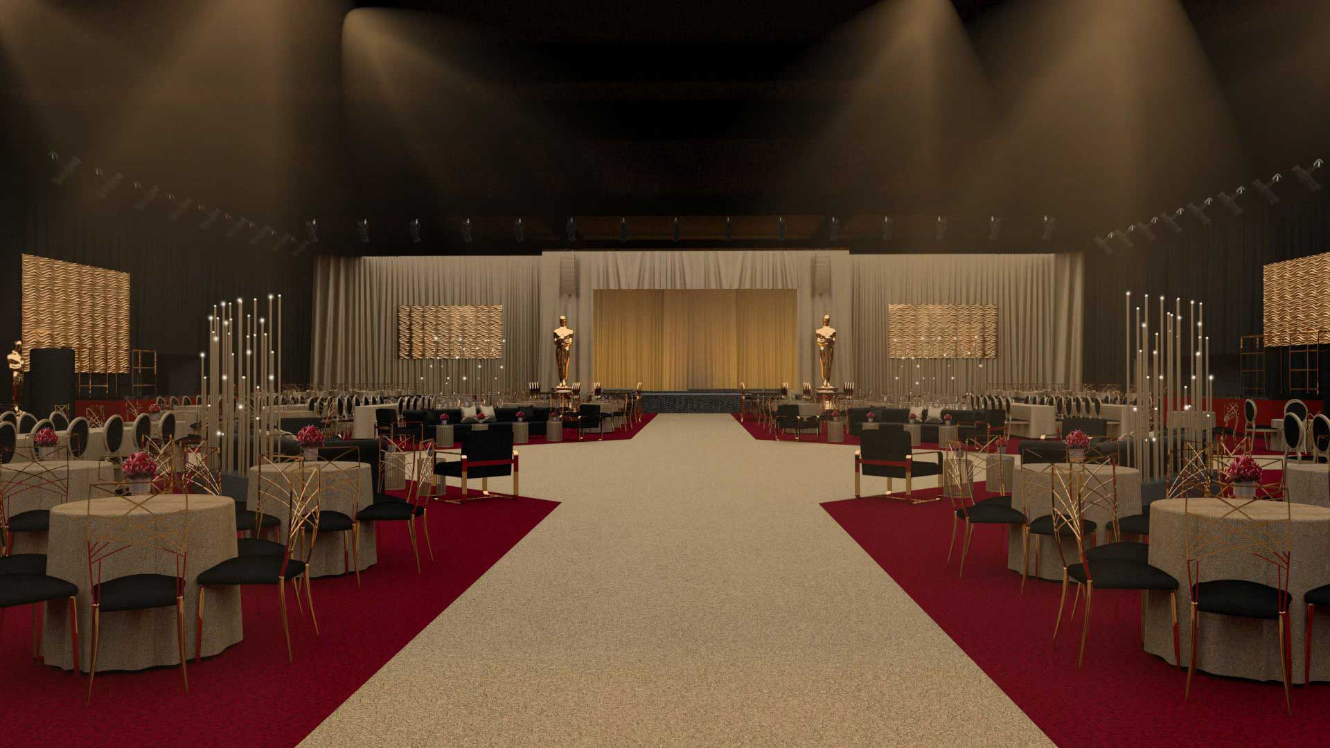 The event space for the Oscars afterparty in Hollywood, California