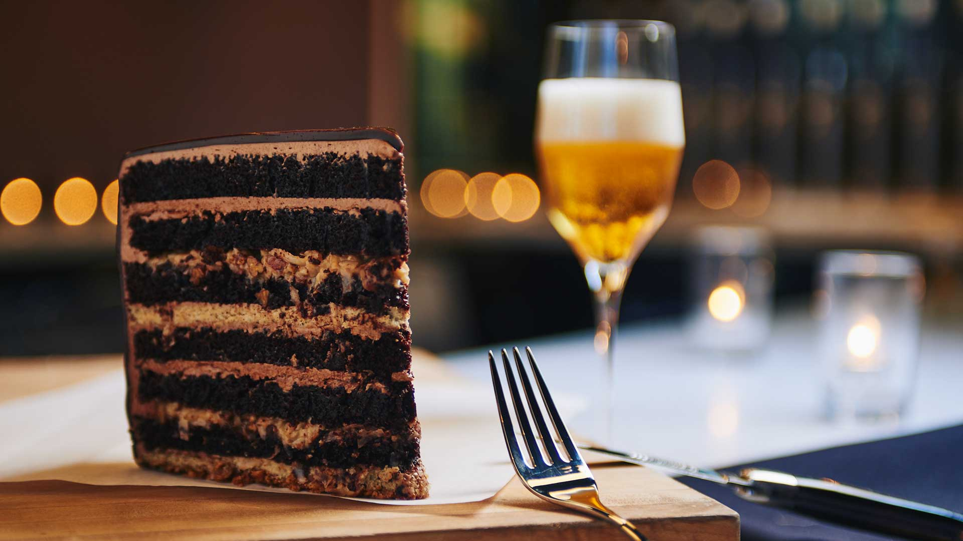 Cake and beer from Moody Tongue in Chicago, Illinois