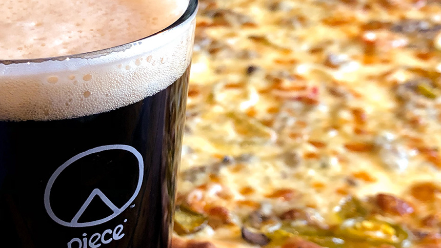 Pizza and beer from Piece Pizzeria in New York City