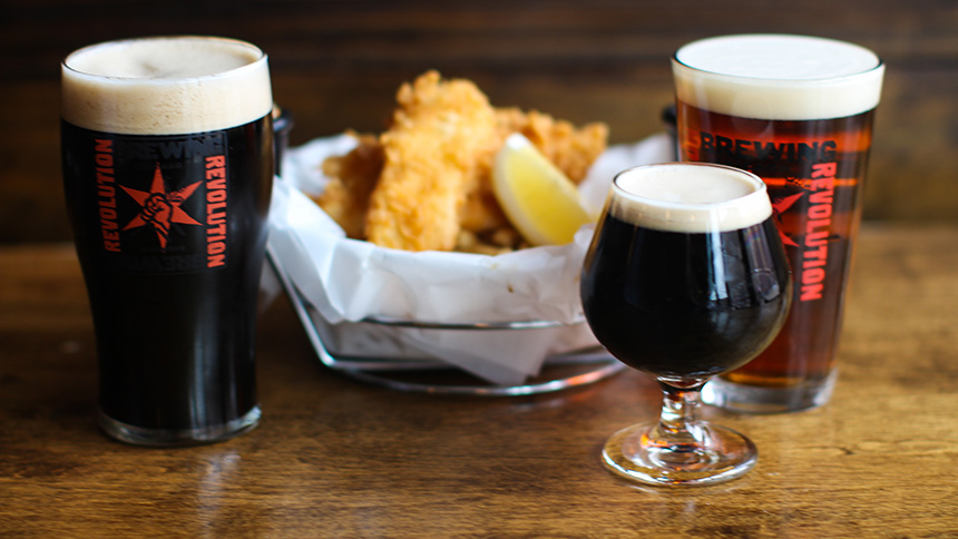 Fish and chips from Revolution Brewing in New York City