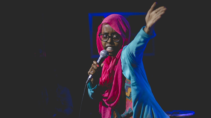 Female comedian in burkha performs in Hollywood, California
