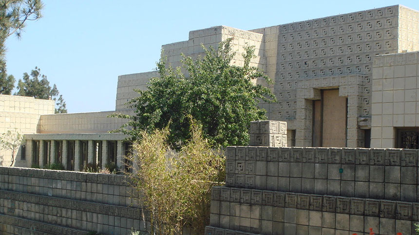 The exterior of the Ennis House in Hollywood, California