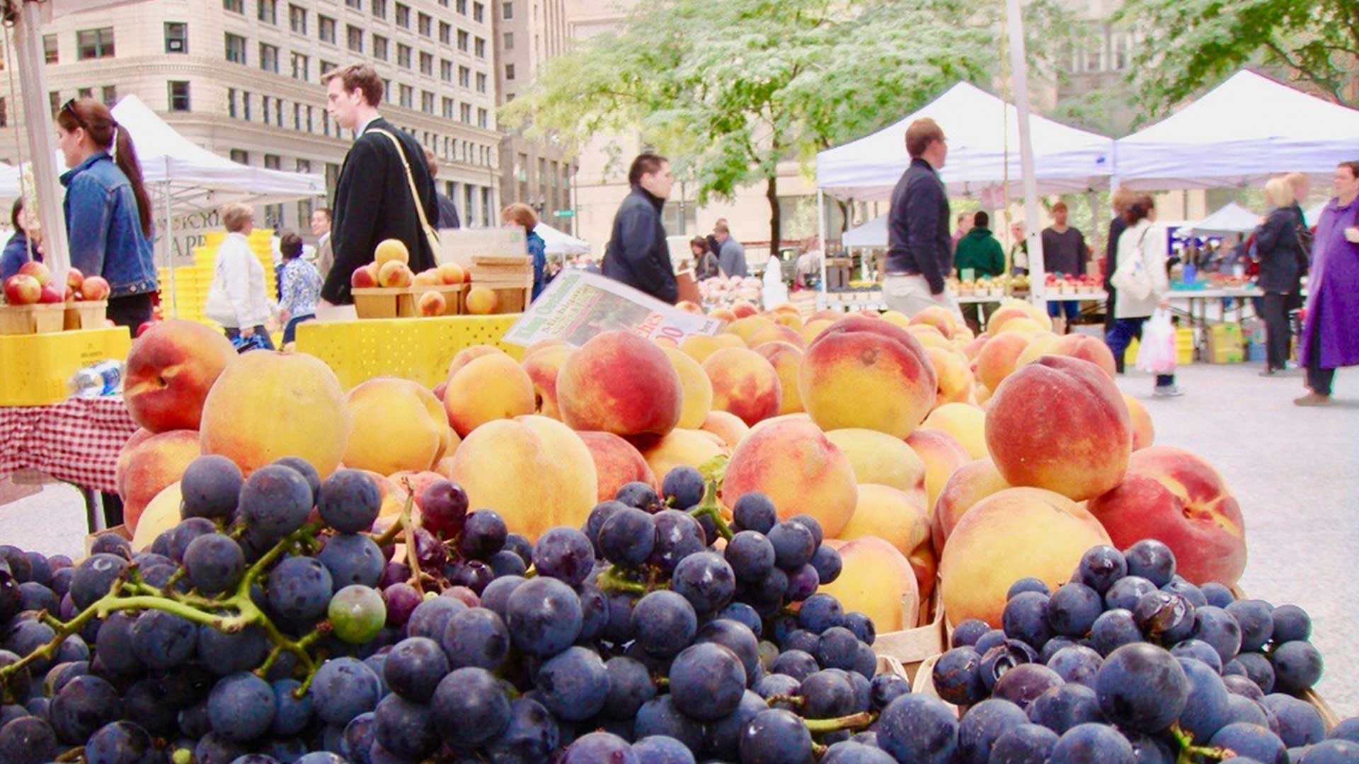 A fruit stand at a farmers market in Chicago, Illinois