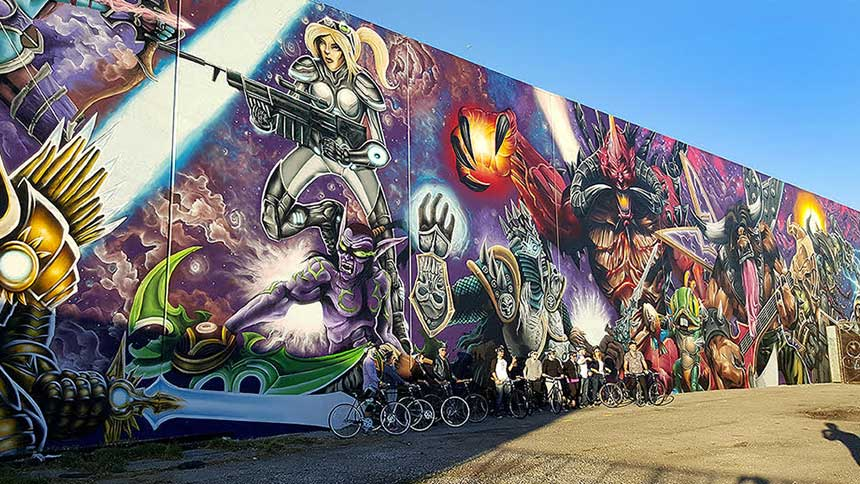 A graffiti wall shown by LA Art Tours in Hollywood, California