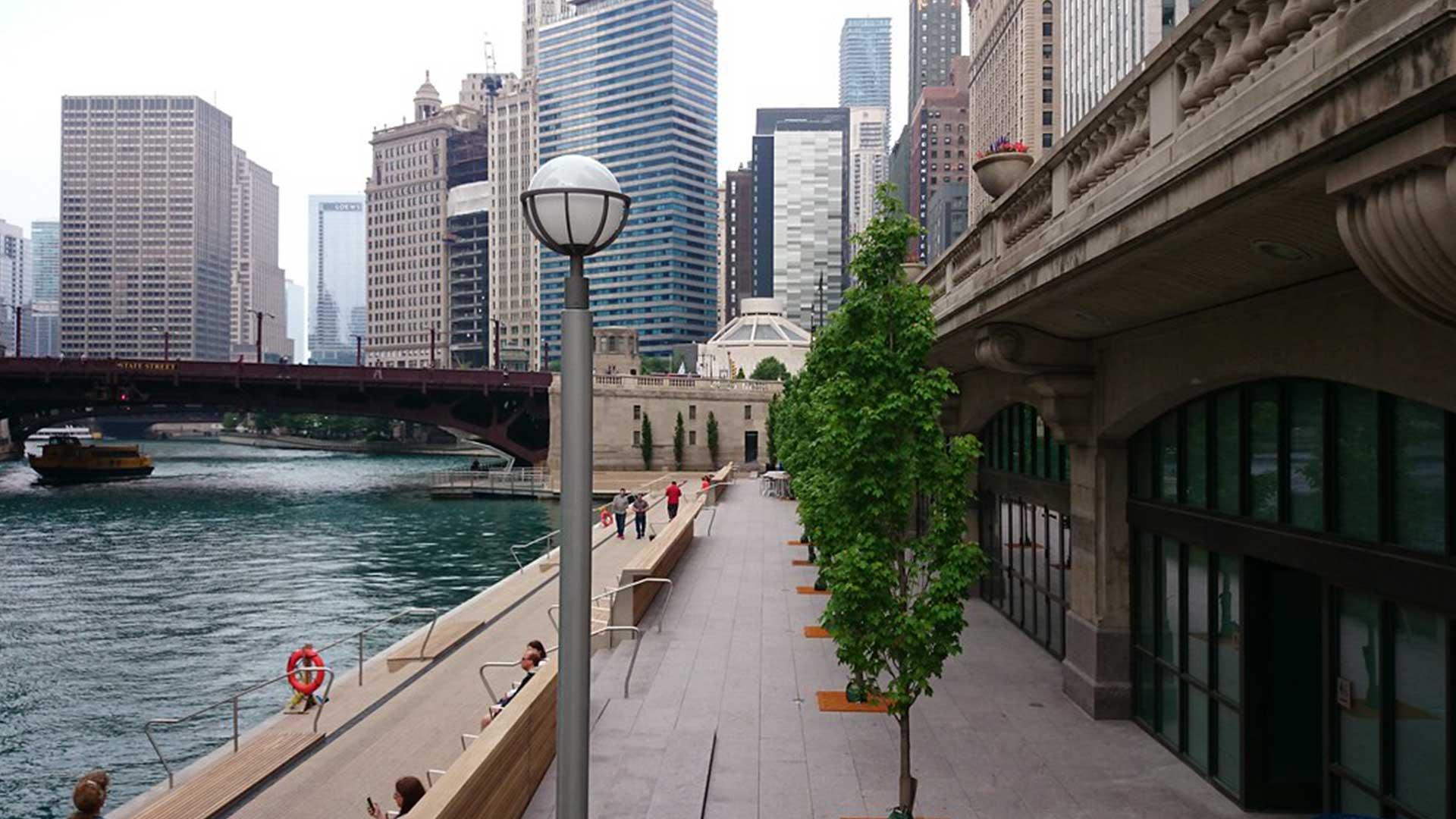 Chicago Riverwalk in Chicago, Illinois