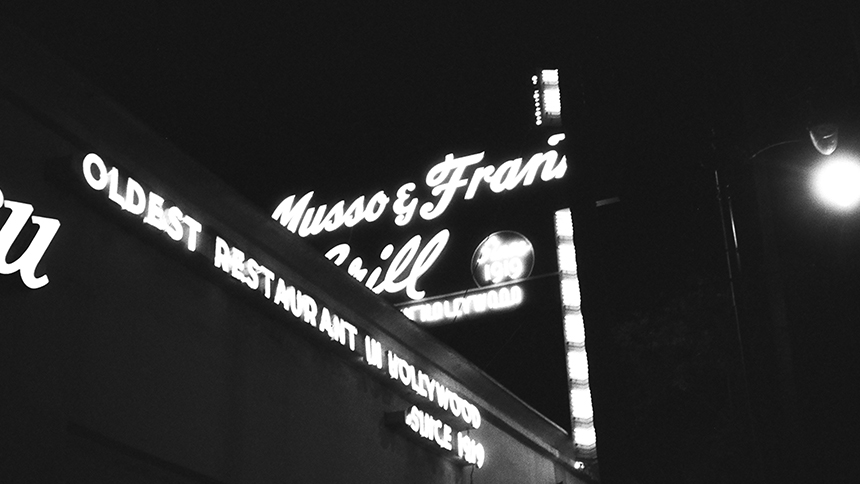 Exterior of Musso & Frank in Hollywood, California