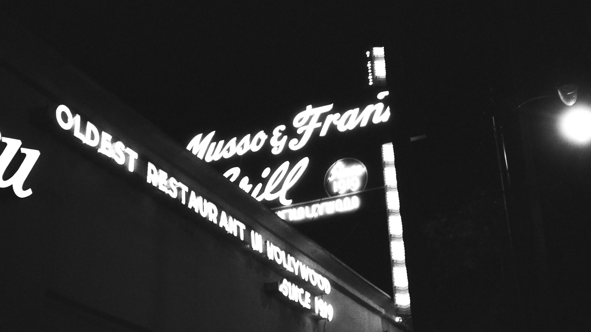 The exterior of Musso & Frank's Grill in Hollywood, California