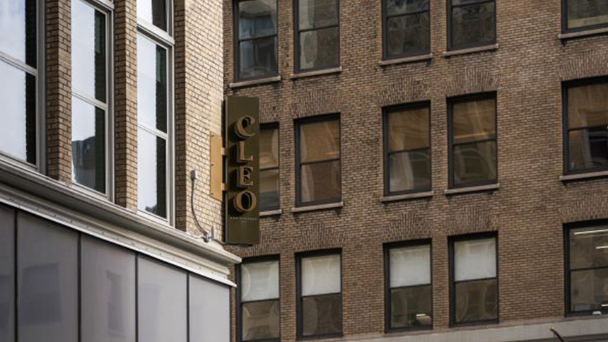 The sign for Cleo Restaurant in New York City